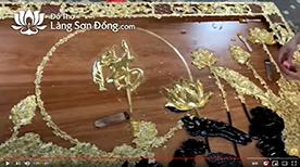 Tranh Sen - chữ Phật thếp Vàng 9999